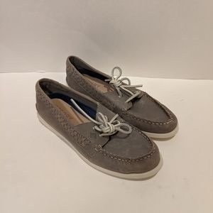 NEW Sperry Quinn boat shoes loafers grey 8